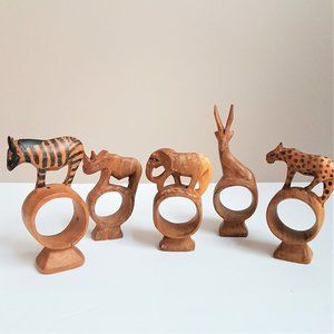 Wooden Hand Carved African Animals Napkin Rings.